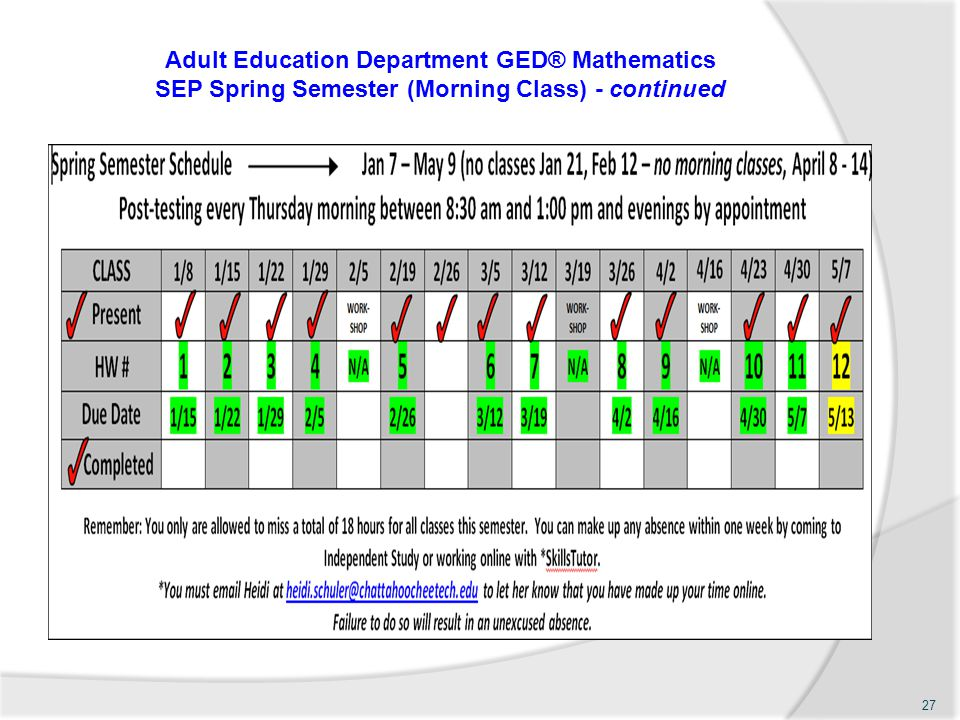 Adult Education Department GED® Mathematics SEP Spring Semester (Morning Class) - continued 27