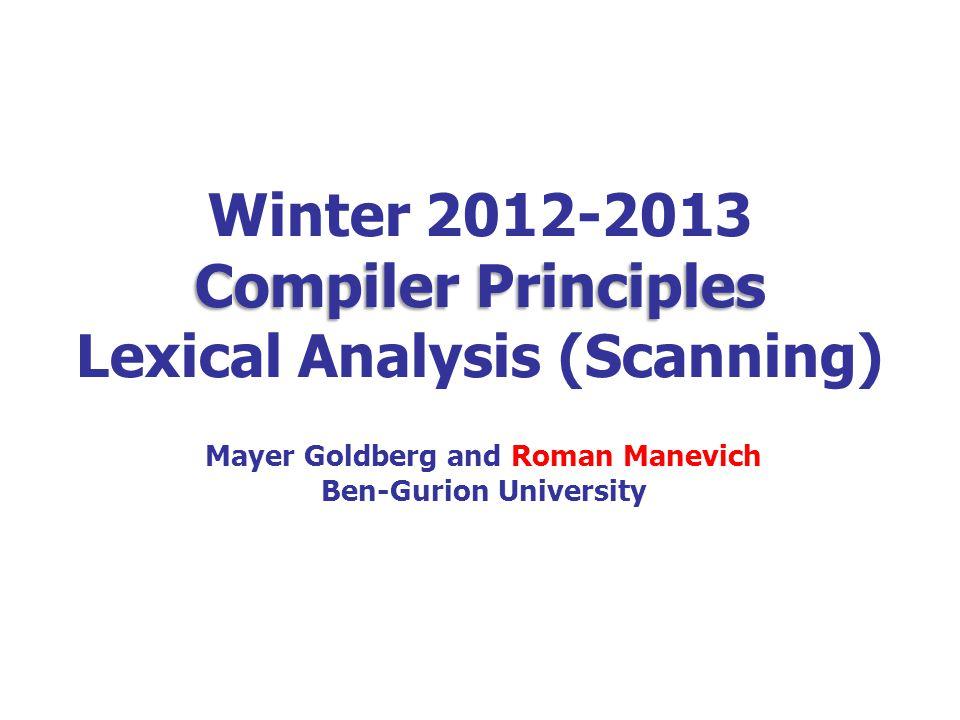 72 Next lecture: parsing