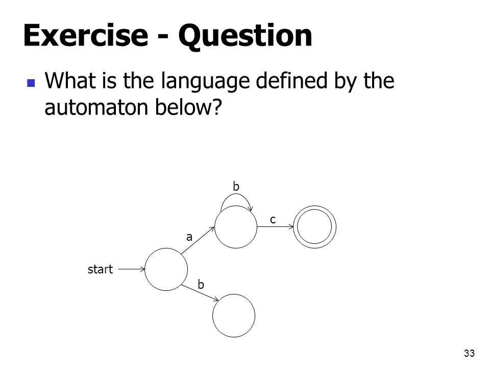Exercise - Question What is the language defined by the automaton below 33 start a b b c