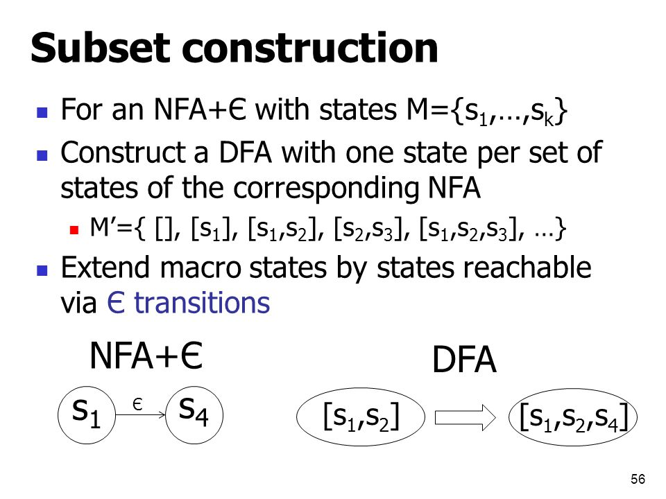 Subset construction For an NFA+Є with states M={s 1,…,s k } Construct a DFA with one state per set of states of the corresponding NFA M'={ [], [s 1 ], [s 1,s 2 ], [s 2,s 3 ], [s 1,s 2,s 3 ], …} Extend macro states by states reachable via Є transitions 56 Є s1s1 s4s4 [s 1,s 2 ] [s 1,s 2,s 4 ] NFA+Є DFA