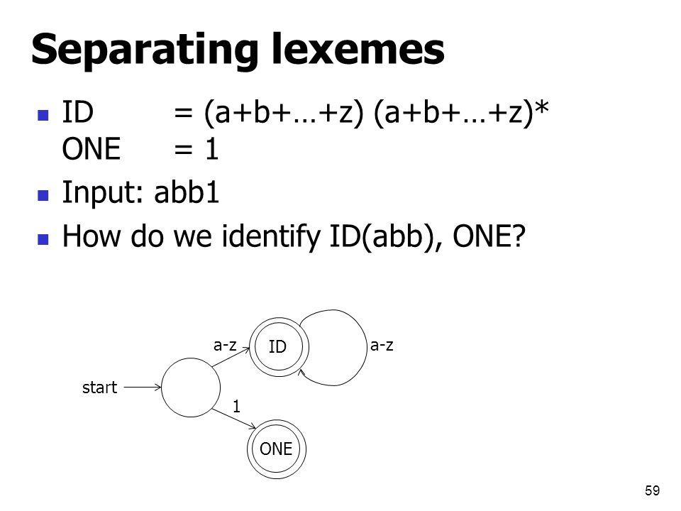Separating lexemes ID= (a+b+…+z) (a+b+…+z)* ONE= 1 Input: abb1 How do we identify ID(abb), ONE.