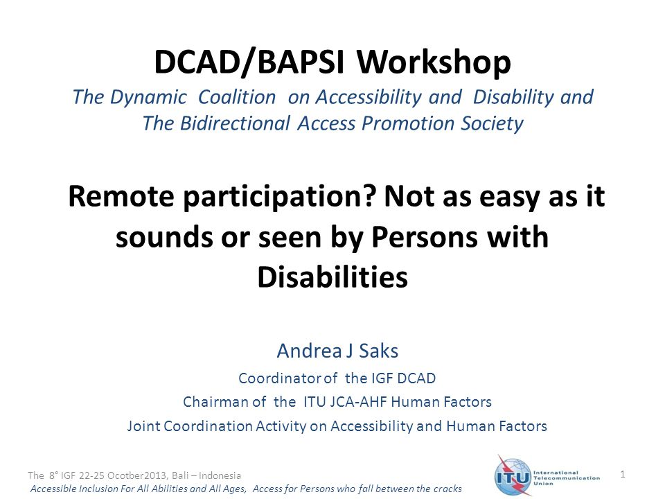 DCAD/BAPSI Workshop The Dynamic Coalition on Accessibility and Disability and The Bidirectional Access Promotion Society Remote participation.