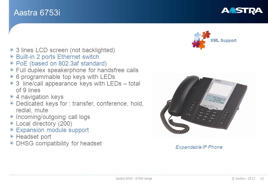 © Aastra – 2013 Aastra 6753i 3 lines LCD screen (not backlighted) Built-in 2 ports Ethernet switch PoE (based on 802.3af standard) Full duplex speaker