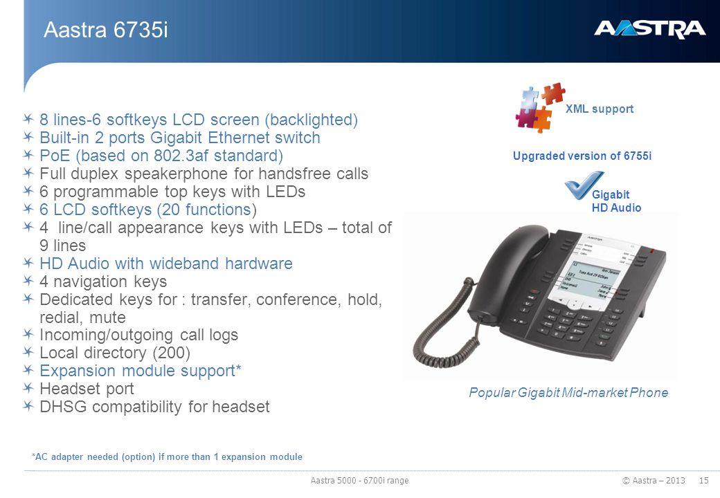 © Aastra – 2013 Aastra 6735i 8 lines-6 softkeys LCD screen (backlighted) Built-in 2 ports Gigabit Ethernet switch PoE (based on 802.3af standard) Full