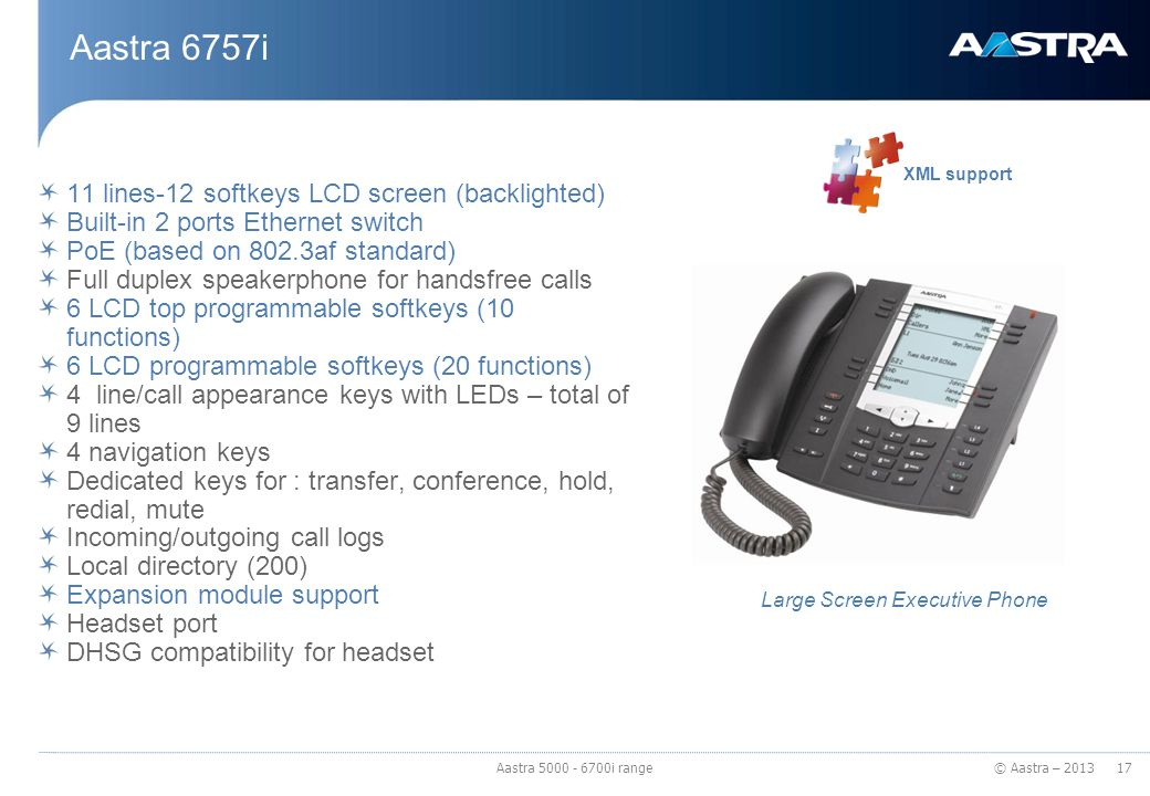 © Aastra – 2013 Aastra 6757i 11 lines-12 softkeys LCD screen (backlighted) Built-in 2 ports Ethernet switch PoE (based on 802.3af standard) Full duple