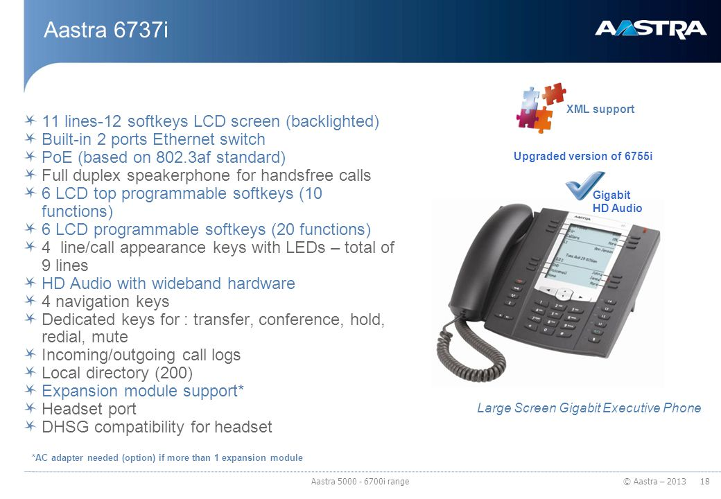 © Aastra – 2013 Aastra 6737i 11 lines-12 softkeys LCD screen (backlighted) Built-in 2 ports Ethernet switch PoE (based on 802.3af standard) Full duple