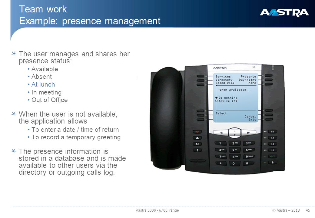 © Aastra – 2013 Team work Example: presence management The user manages and shares her presence status: Available Absent At lunch In meeting Out of Of