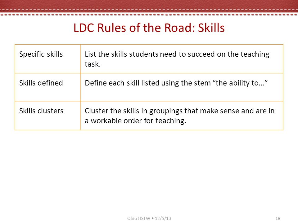LDC Rules of the Road: Skills Specific skillsList the skills students need to succeed on the teaching task.
