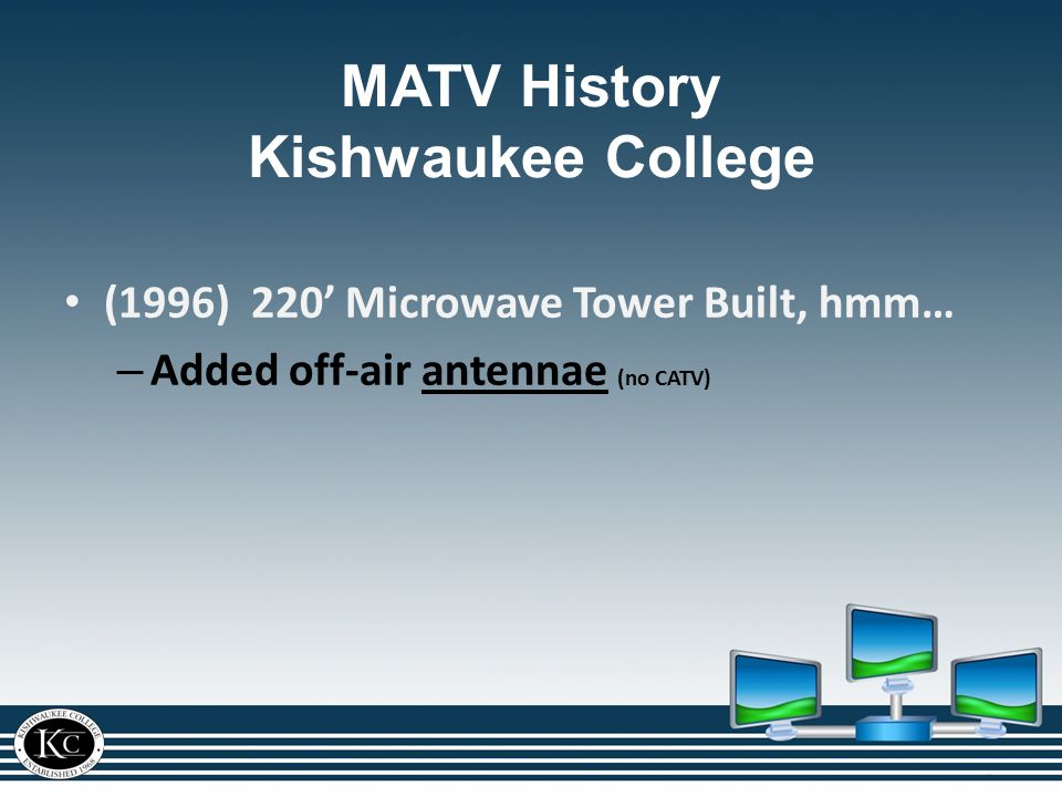 (1996) 220' Microwave Tower Built, hmm… – Added off-air antennae (no CATV)antennae MATV History Kishwaukee College
