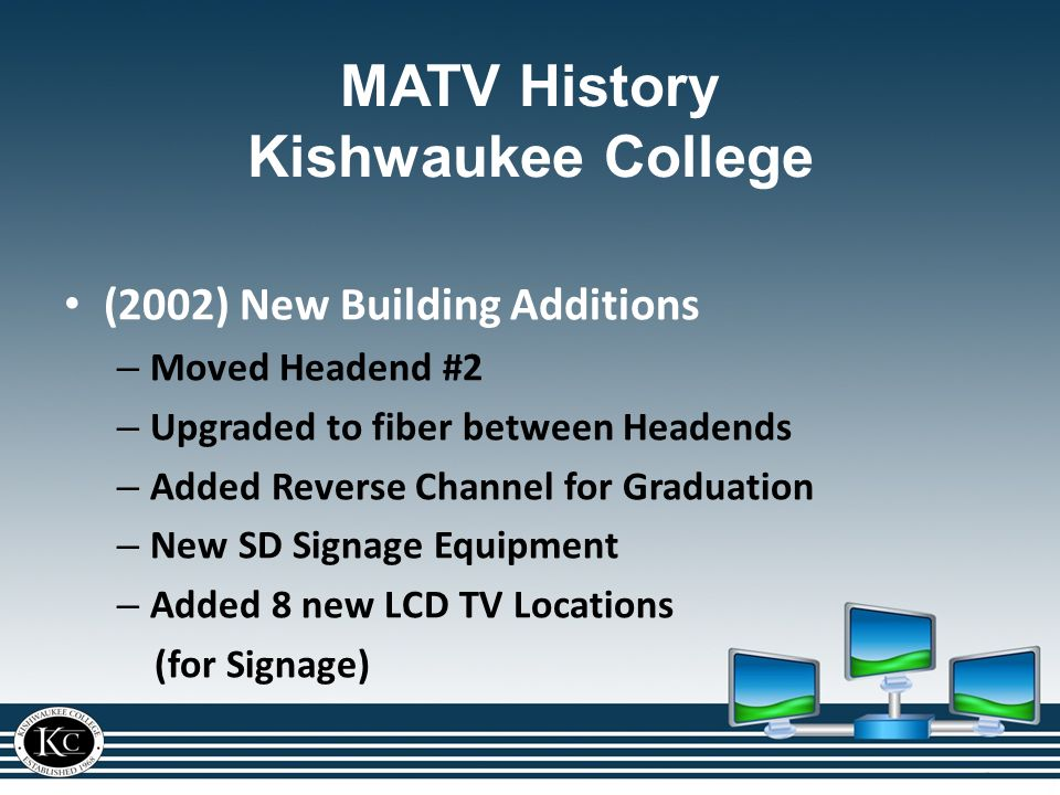 (2002) New Building Additions – Moved Headend #2 – Upgraded to fiber between Headends – Added Reverse Channel for Graduation – New SD Signage Equipment – Added 8 new LCD TV Locations (for Signage) MATV History Kishwaukee College