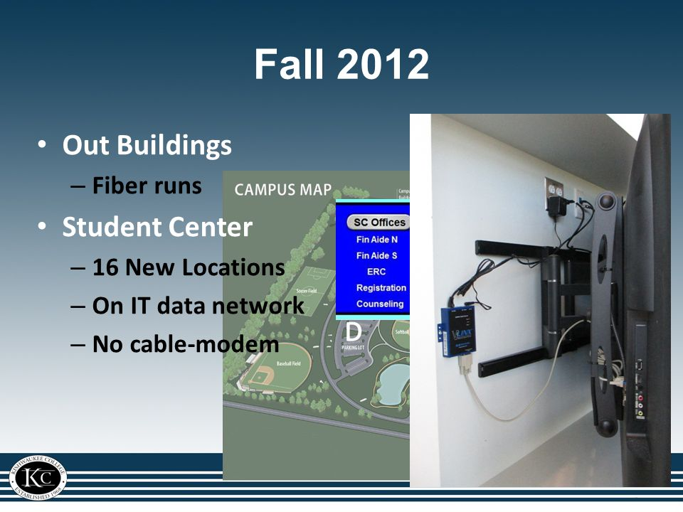 Out Buildings – Fiber runs Student Center – 16 New Locations – On IT data network – No cable-modem Fall 2012