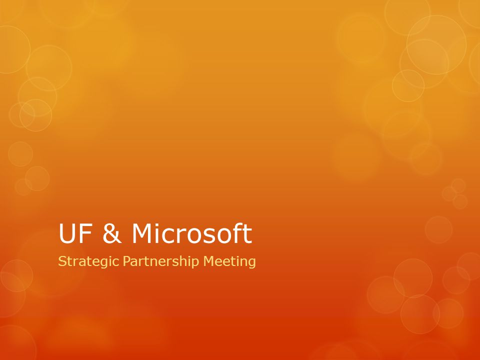 UF & Microsoft Strategic Partnership Meeting