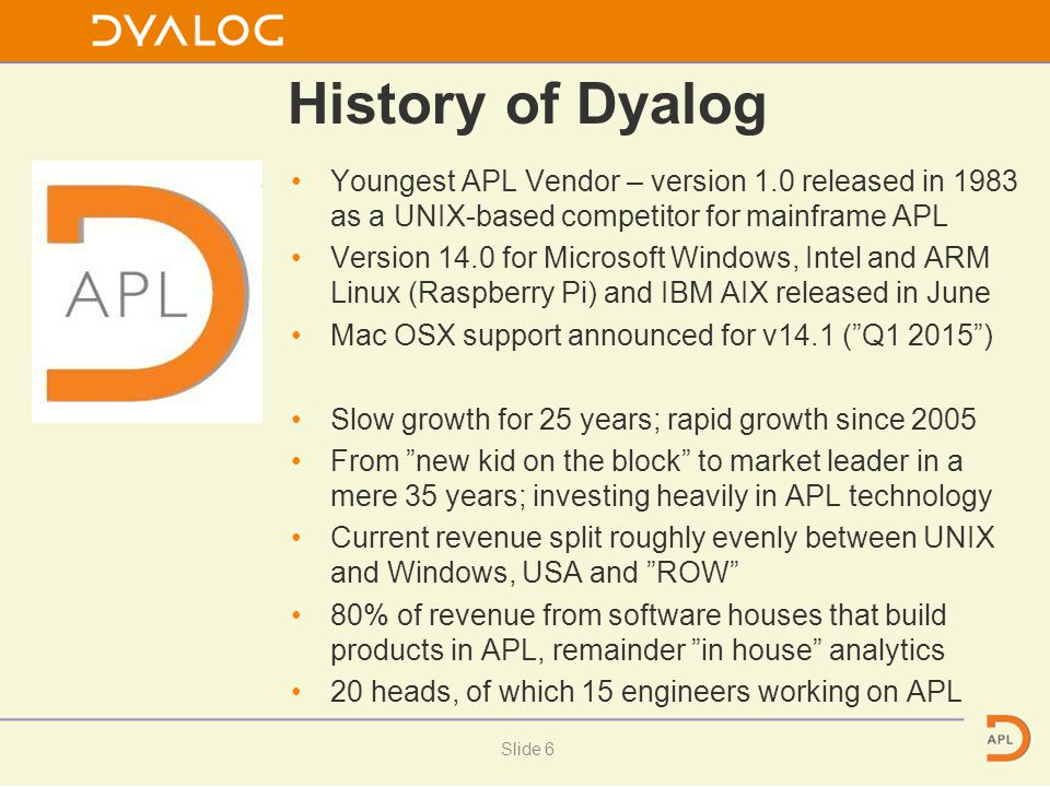 History of Dyalog Youngest APL Vendor – version 1.0 released in 1983 as a UNIX-based competitor for mainframe APL Version 14.0 for Microsoft Windows,