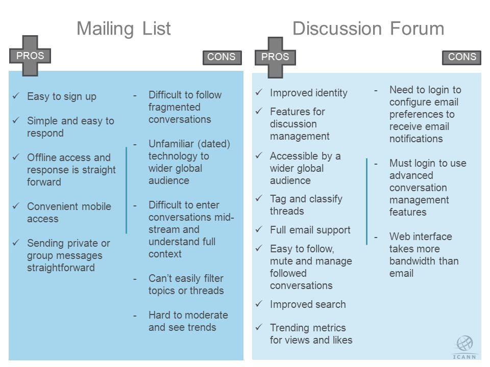 18 Mailing ListDiscussion Forum Easy to sign up Simple and easy to respond Offline access and response is straight forward Convenient mobile access Sending private or group messages straightforward Improved identity Features for discussion management Accessible by a wider global audience Tag and classify threads Full email support Easy to follow, mute and manage followed conversations Improved search Trending metrics for views and likes  Difficult to follow fragmented conversations  Unfamiliar (dated) technology to wider global audience  Difficult to enter conversations mid- stream and understand full context  Can't easily filter topics or threads  Hard to moderate and see trends  Need to login to configure email preferences to receive email notifications  Must login to use advanced conversation management features  Web interface takes more bandwidth than email PROS CONSPROSCONS