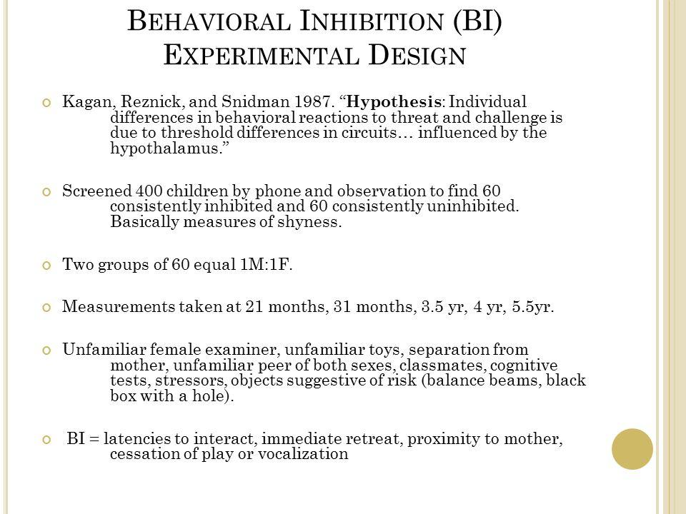 B EHAVIORAL I NHIBITION (BI) E XPERIMENTAL D ESIGN Kagan, Reznick, and Snidman 1987.