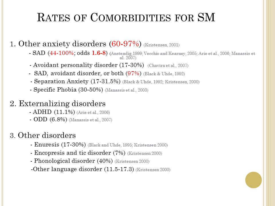 R ATES OF C OMORBIDITIES FOR SM 1.