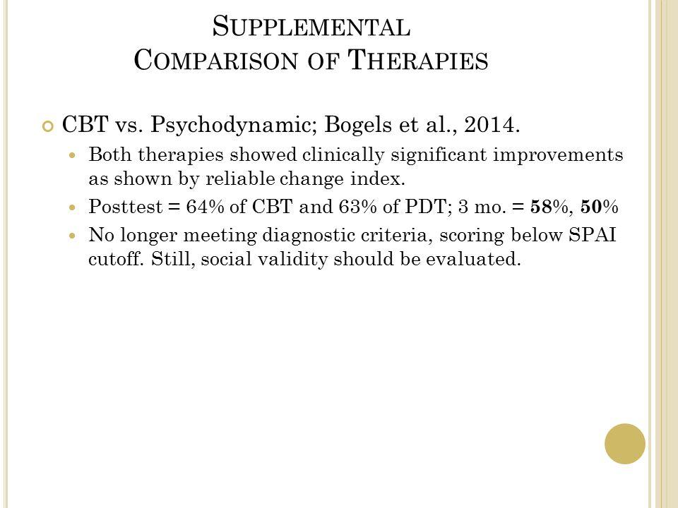 S UPPLEMENTAL C OMPARISON OF T HERAPIES CBT vs. Psychodynamic; Bogels et al., 2014.