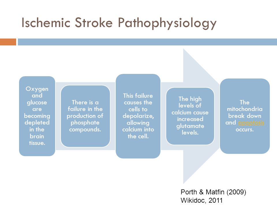 Ischemic Stroke Pathophysiology Tissue in the brain becomes damaged due to this decrease in blood flow. Tissue that may recover is referred to as isch