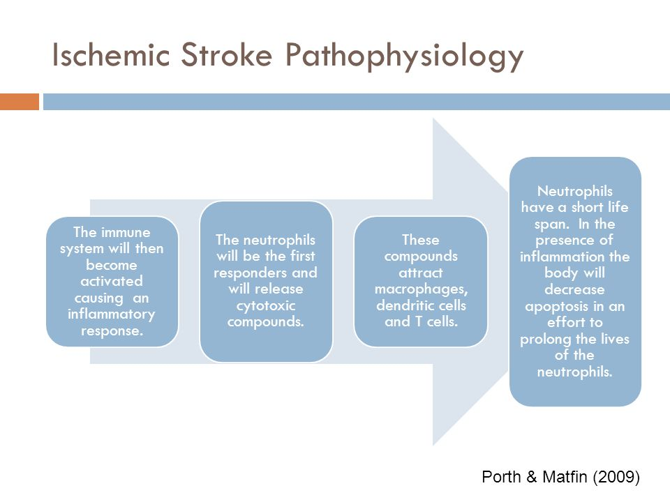 Ischemic Stroke Pathophysiology Oxygen and glucose are becoming depleted in the brain tissue. There is a failure in the production of phosphate compou