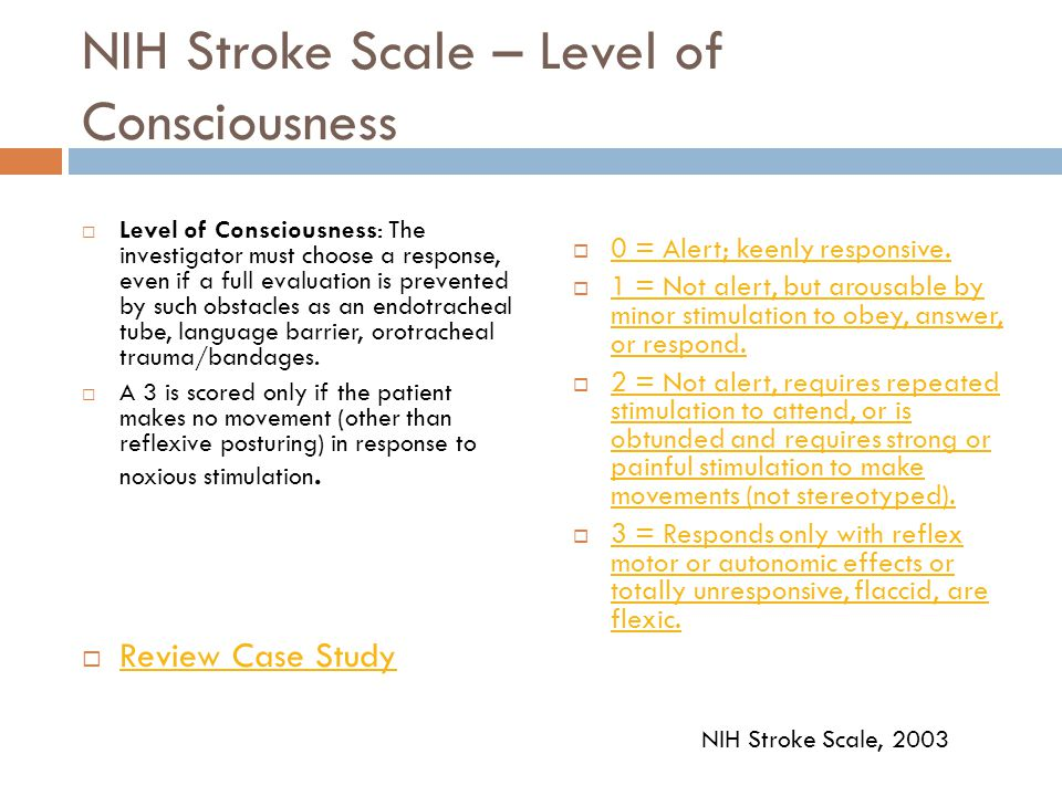 Case Study  Paul's neurological assessment and NIH stroke scale are as follows:  Paul is alert and responding to your questions.  He states that he