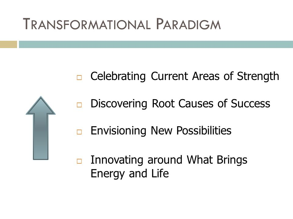 T RANSFORMATIONAL P ARADIGM  Celebrating Current Areas of Strength  Discovering Root Causes of Success  Envisioning New Possibilities  Innovating around What Brings Energy and Life