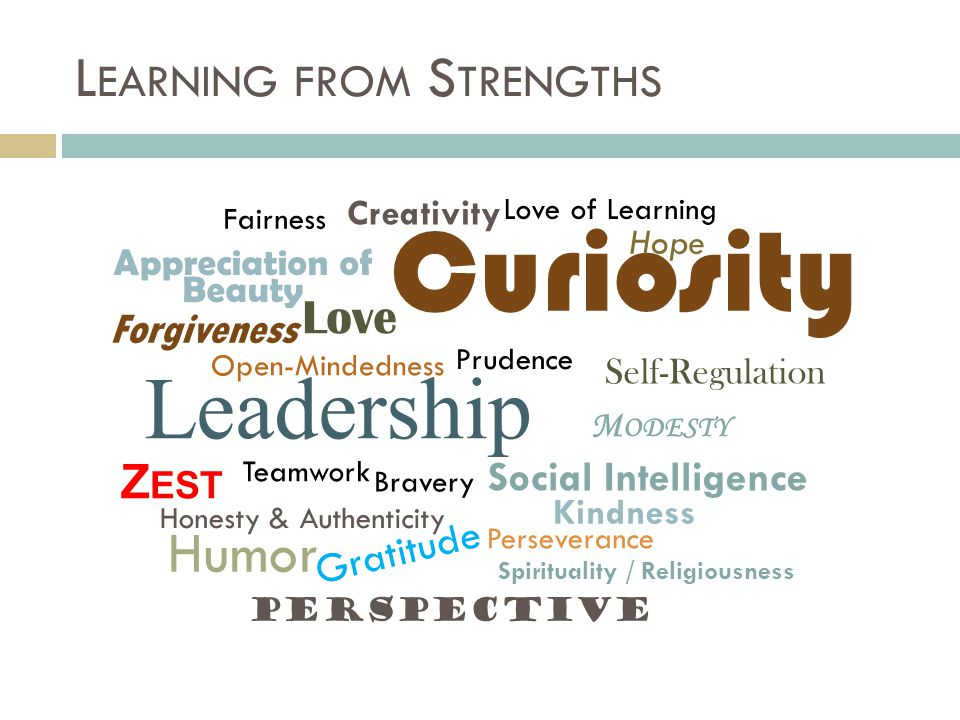 L EARNING FROM S TRENGTHS Kindness Leadership Appreciation of Beauty Curiosity Creativity Open-Mindedness Love of Learning Perspective Honesty & Authenticity Bravery Perseverance Z EST Love Social Intelligence Fairness Teamwork Forgiveness M ODESTY Prudence Self-Regulation Gratitude Hope Humor Spirituality / Religiousness