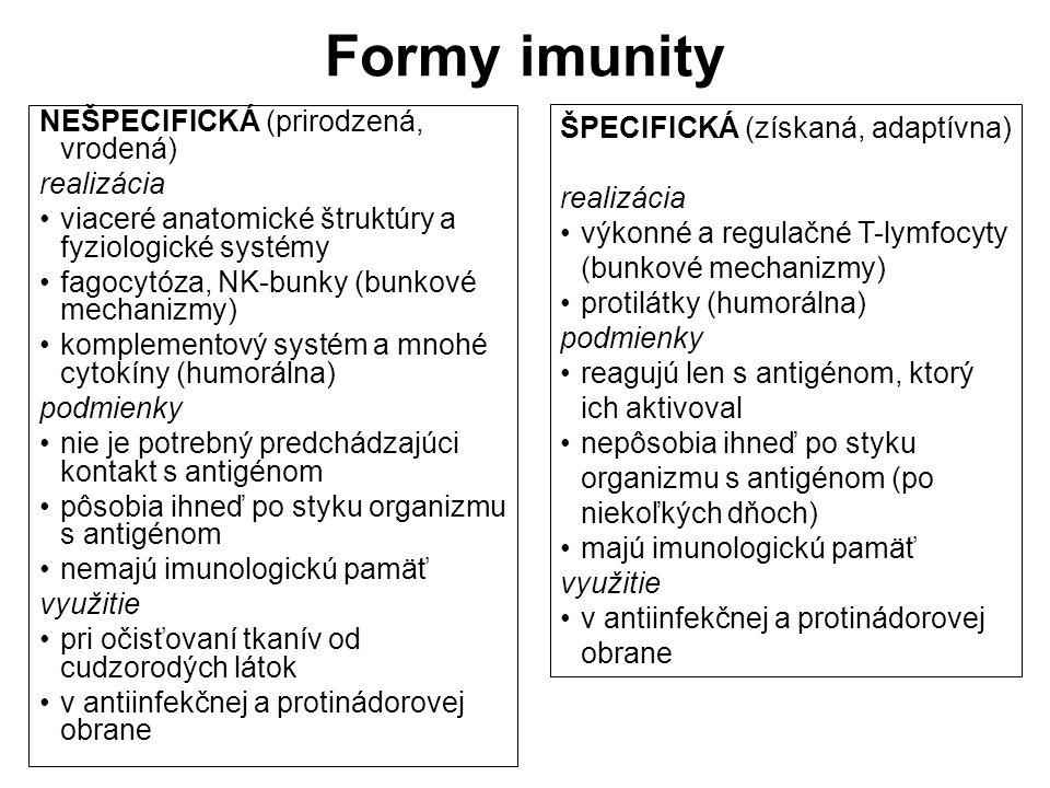 Formy imunity NEŠPECIFICKÁ (prirodzená, vrodená) realizácia viaceré anatomické štruktúry a fyziologické systémy fagocytóza, NK-bunky (bunkové mechaniz