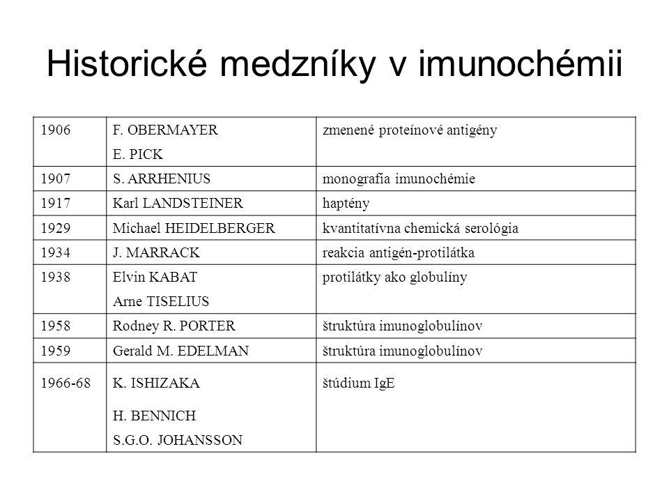 Historické medzníky v imunochémii 1906F. OBERMAYERzmenené proteínové antigény E. PICK 1907S. ARRHENIUSmonografia imunochémie 1917Karl LANDSTEINERhapté