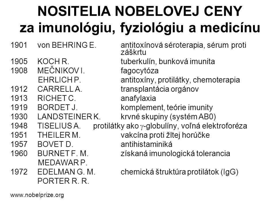 1901von BEHRING E.antitoxínová séroterapia, sérum proti záškrtu 1905KOCH R.tuberkulín, bunková imunita 1908MEČNIKOV I.fagocytóza EHRLICH P.antitoxíny,