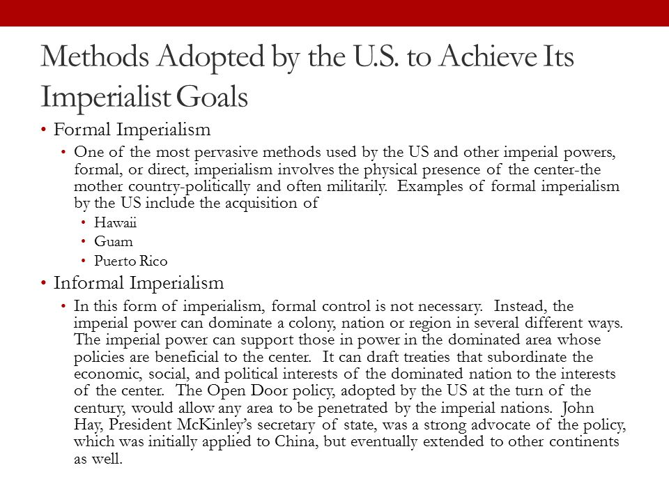 Methods Adopted by the U.S.