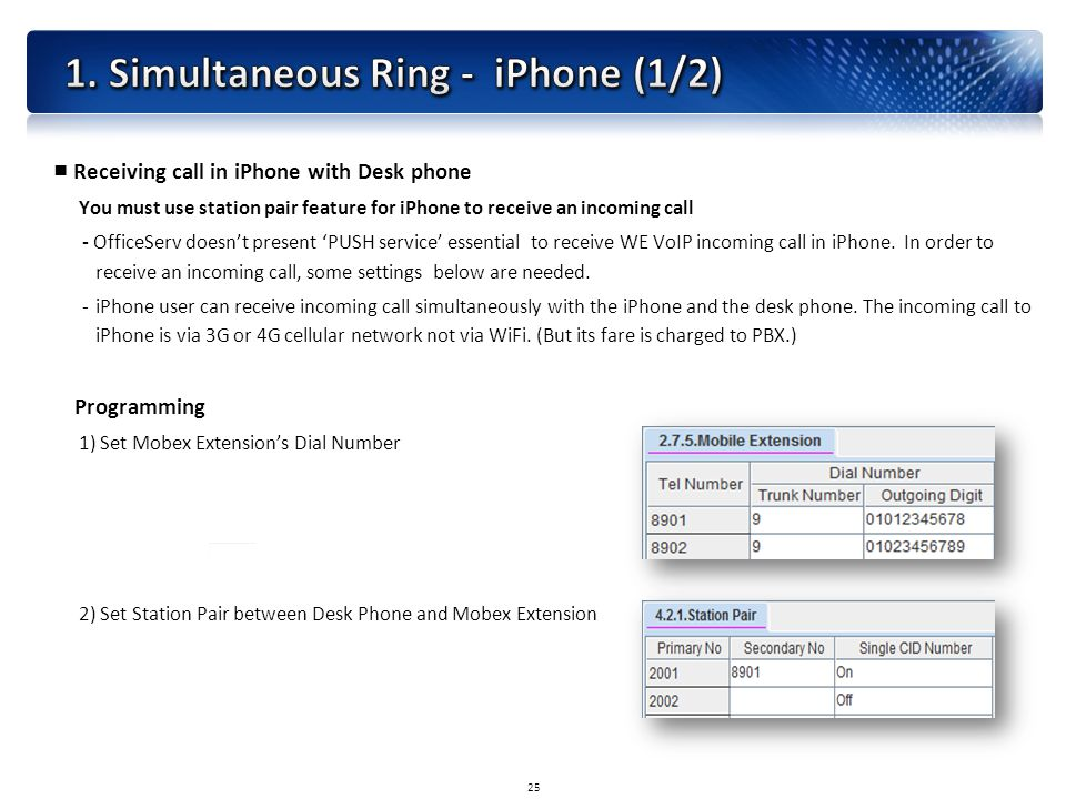 ■ Receiving call in iPhone with Desk phone You must use station pair feature for iPhone to receive an incoming call - OfficeServ doesn't present 'PUSH service' essential to receive WE VoIP incoming call in iPhone.