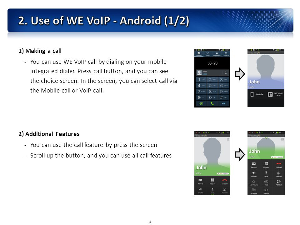 1) Making a call -You can use WE VoIP call by dialing on your mobile integrated dialer.