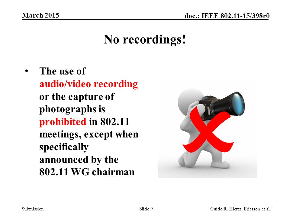 Submission doc.: IEEE 802.11-15/398r0 No recordings.