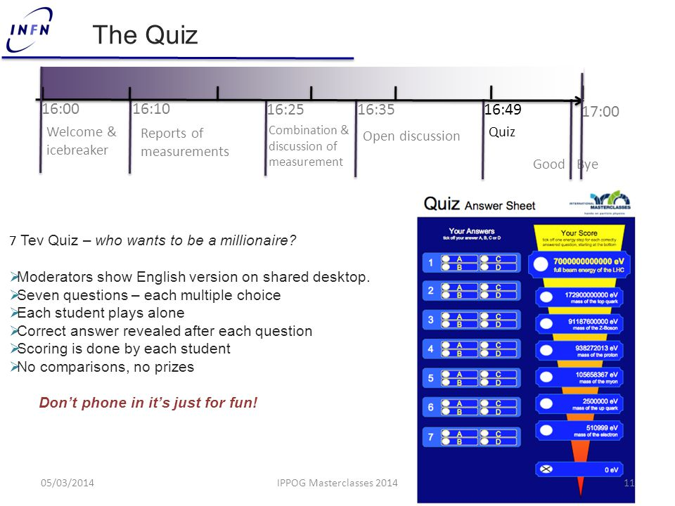 The Quiz 7 Tev Quiz – who wants to be a millionaire.