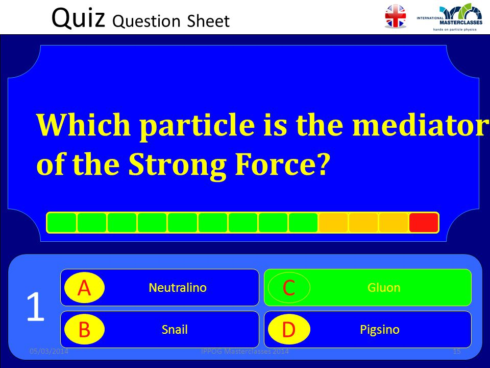 Quiz Question Sheet Which particle is the mediator of the Strong Force.