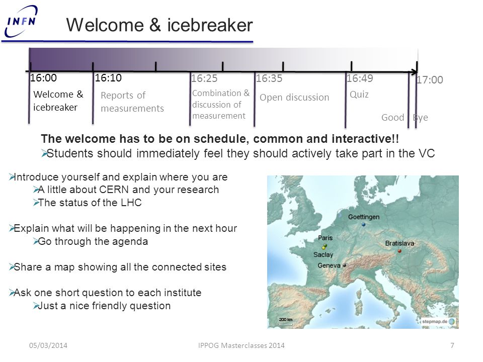 Welcome & icebreaker The welcome has to be on schedule, common and interactive!!  Students should immediately feel they should actively take part in