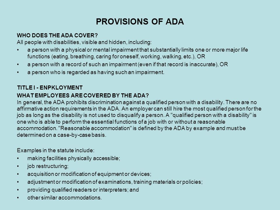 PROVISIONS OF ADA WHO DOES THE ADA COVER.