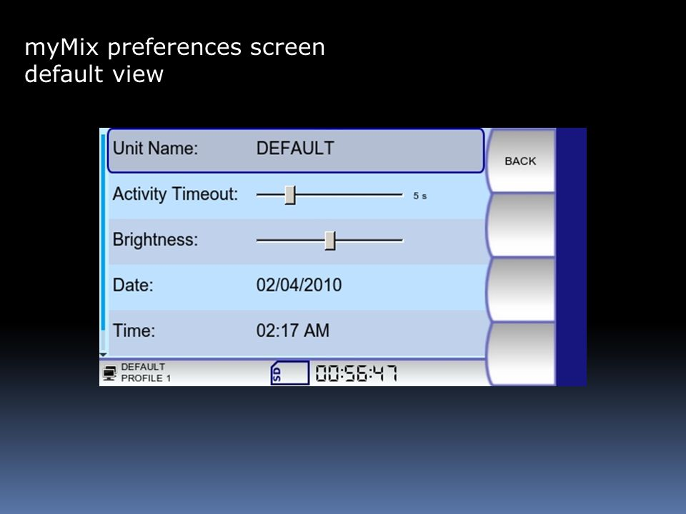 myMix preferences screen default view