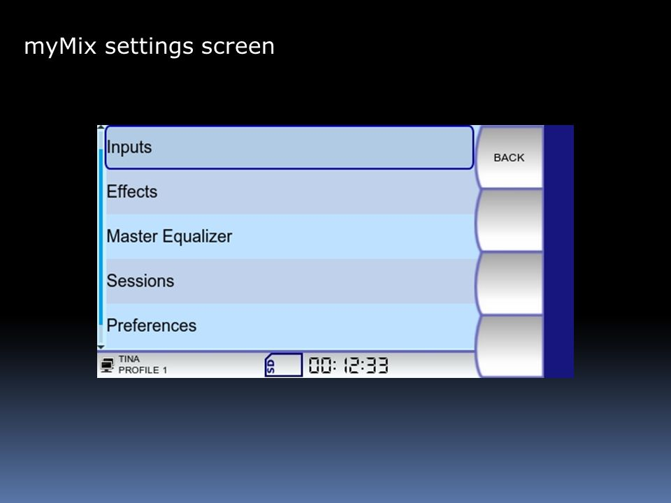 myMix settings screen