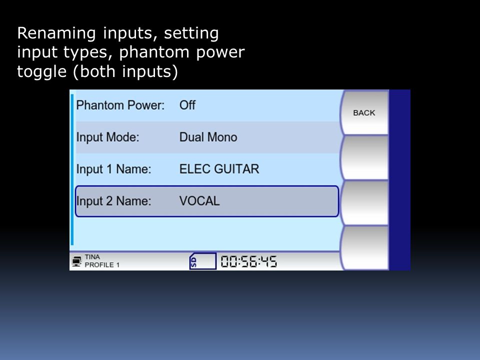 Renaming inputs, setting input types, phantom power toggle (both inputs)