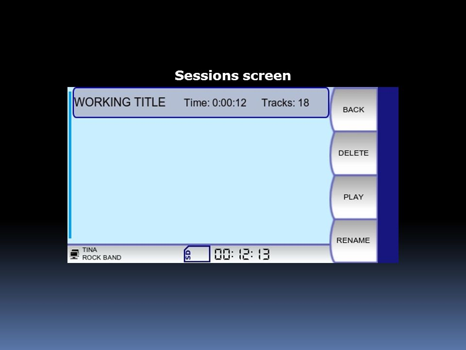Sessions screen