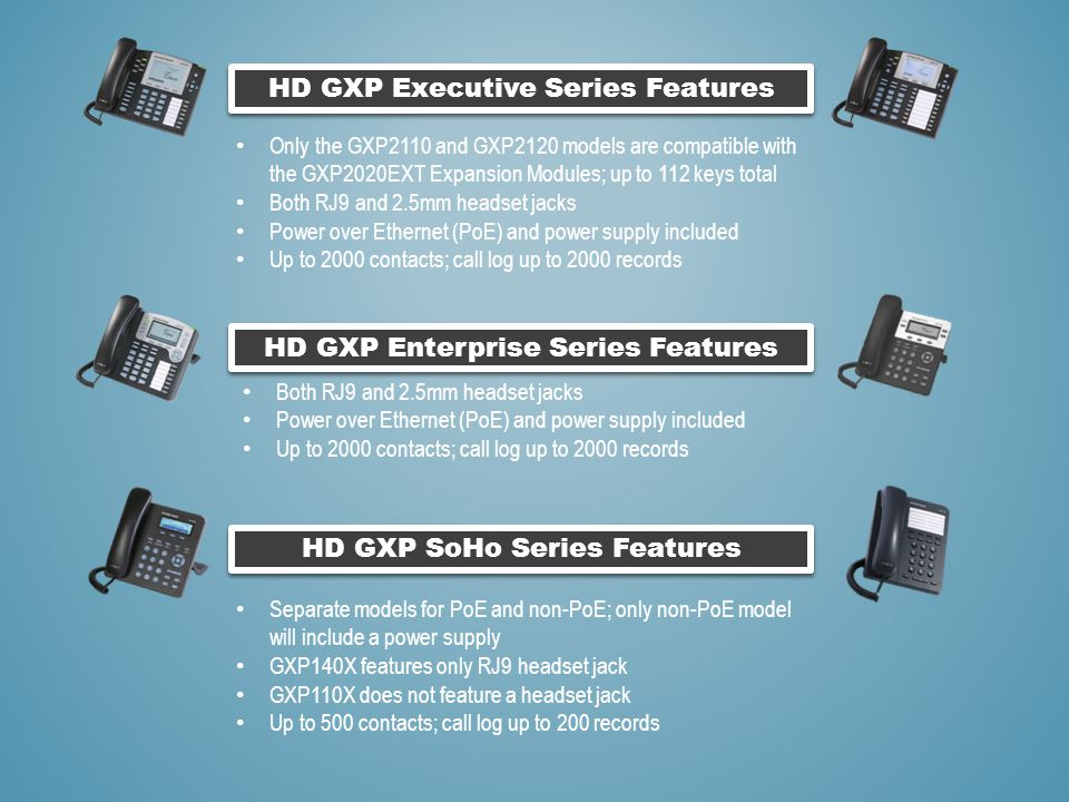 HD GXP Executive Series Features HD GXP SoHo Series Features HD GXP Enterprise Series Features Only the GXP2110 and GXP2120 models are compatible with