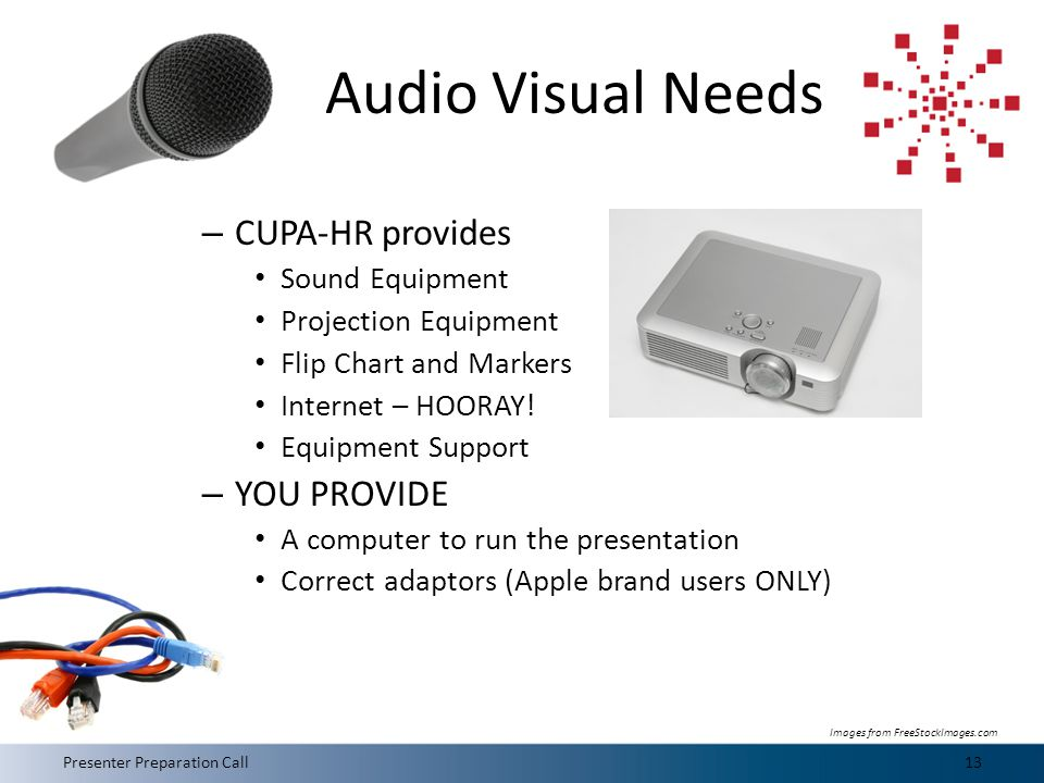 Audio Visual Needs – CUPA-HR provides Sound Equipment Projection Equipment Flip Chart and Markers Internet – HOORAY.
