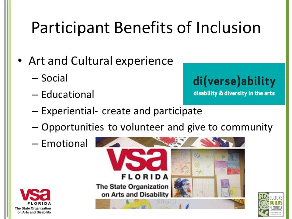 Participant Benefits of Inclusion Art and Cultural experience – Social – Educational – Experiential- create and participate – Opportunities to volunte