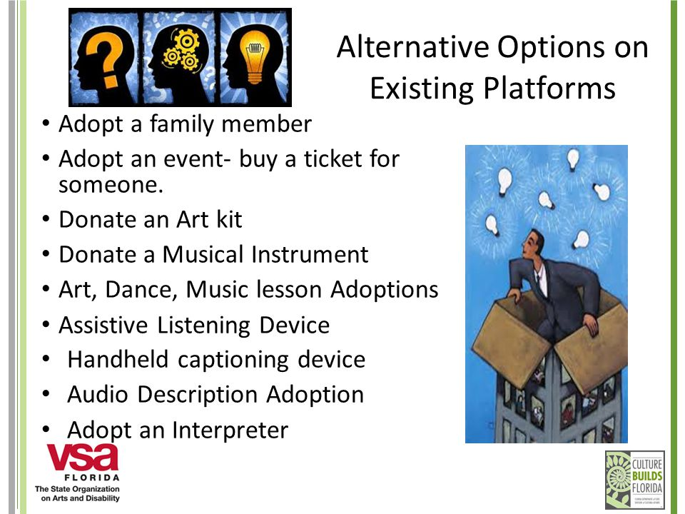 Alternative Options on Existing Platforms Adopt a family member Adopt an event- buy a ticket for someone.
