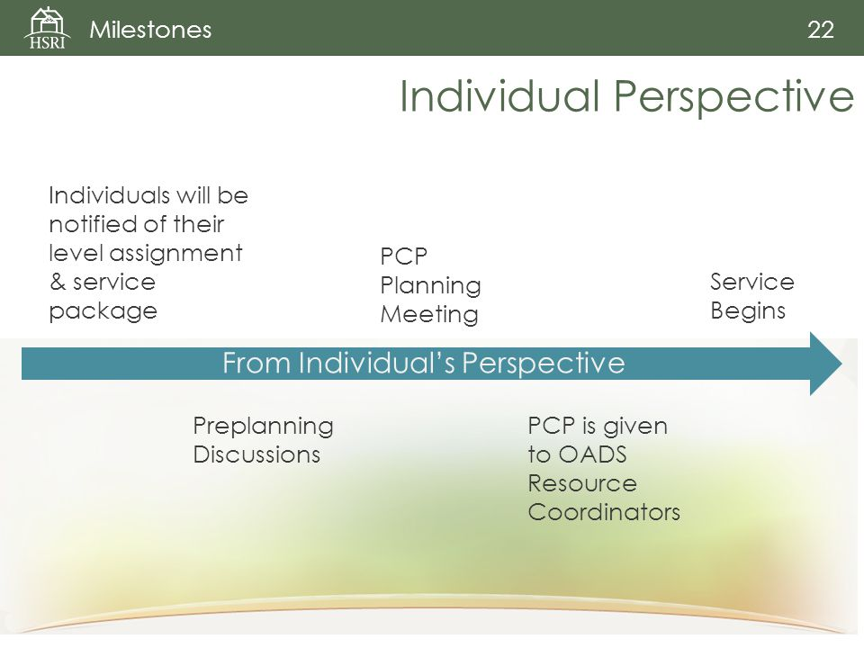Individual Perspective Milestones 22 From Individual's Perspective Individuals will be notified of their level assignment & service package Preplanning Discussions PCP Planning Meeting PCP is given to OADS Resource Coordinators Service Begins