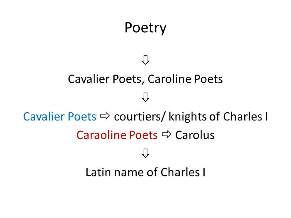 Poetry  Cavalier Poets, Caroline Poets  Cavalier Poets  courtiers/ knights of Charles I Caraoline Poets  Carolus  Latin name of Charles I