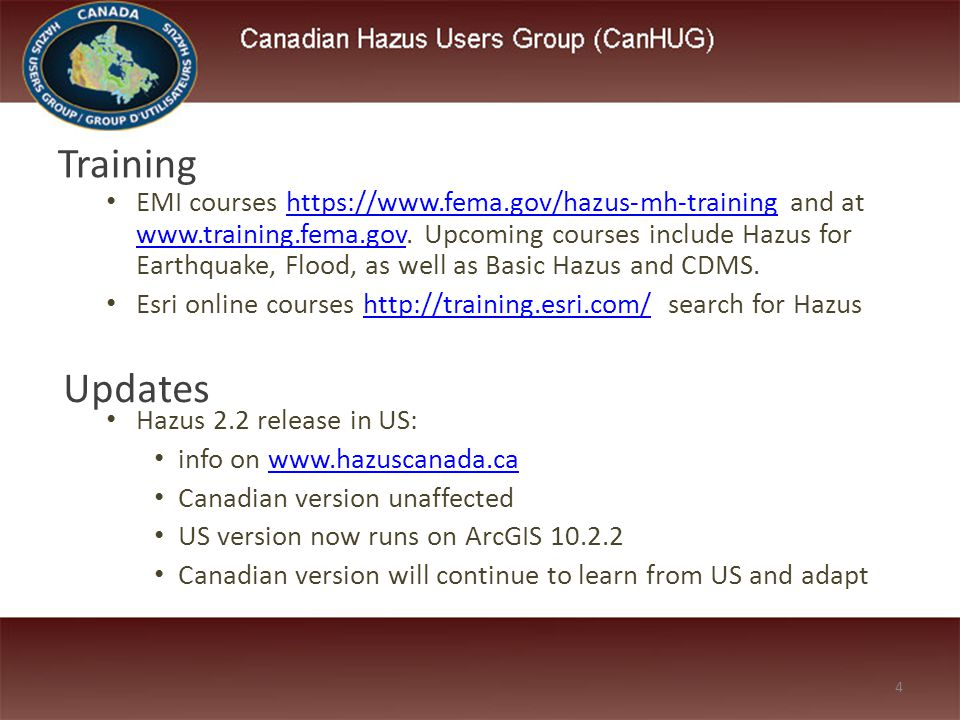 EMI courses https://www.fema.gov/hazus-mh-training and at www.training.fema.gov. Upcoming courses include Hazus for Earthquake, Flood, as well as Basi