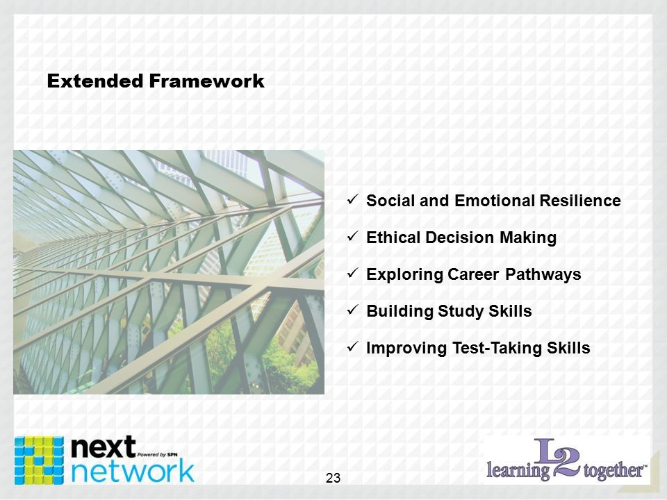 Extended Framework Social and Emotional Resilience Ethical Decision Making Exploring Career Pathways Building Study Skills Improving Test-Taking Skills 23