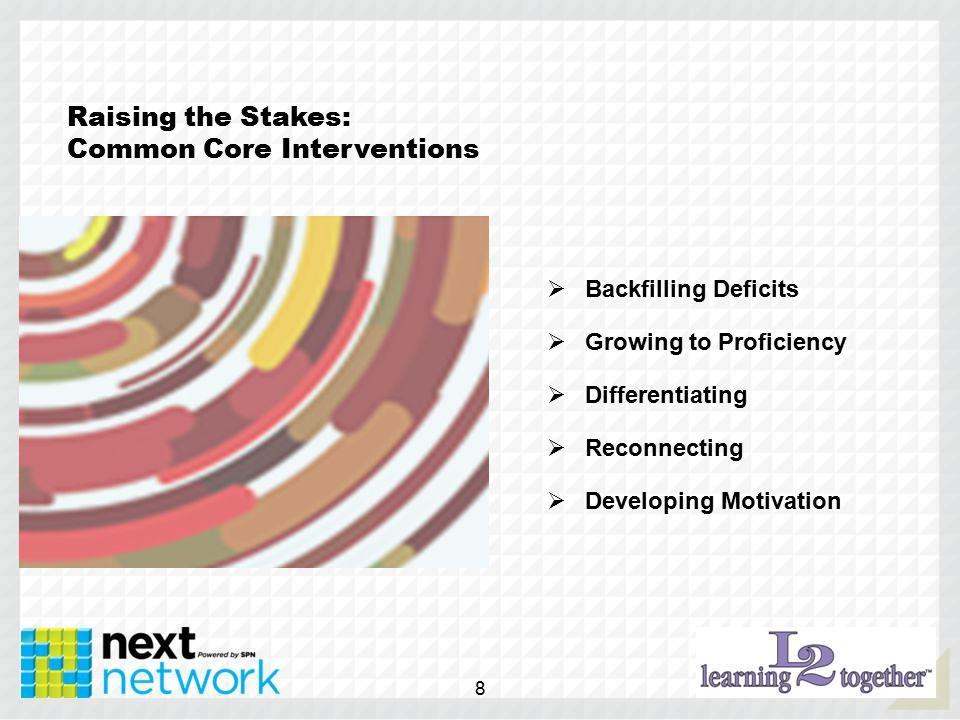 Raising the Stakes: Common Core Interventions  Backfilling Deficits  Growing to Proficiency  Differentiating  Reconnecting  Developing Motivation 8